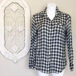 Lucky Brand   Black Cream Plaid Flannel Shirt S